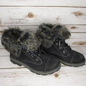 Roxy Tamarac Faux Fur Lined Black Ankle Boots 8.5